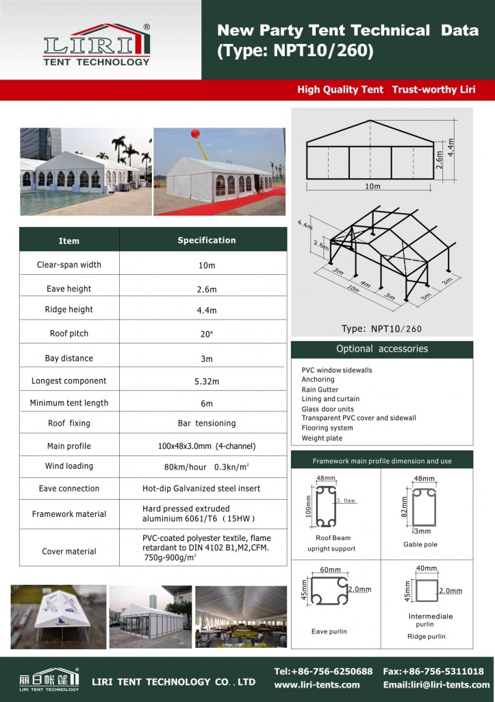 Specification for NPT10m width tent(Peggy-Liri Tent)