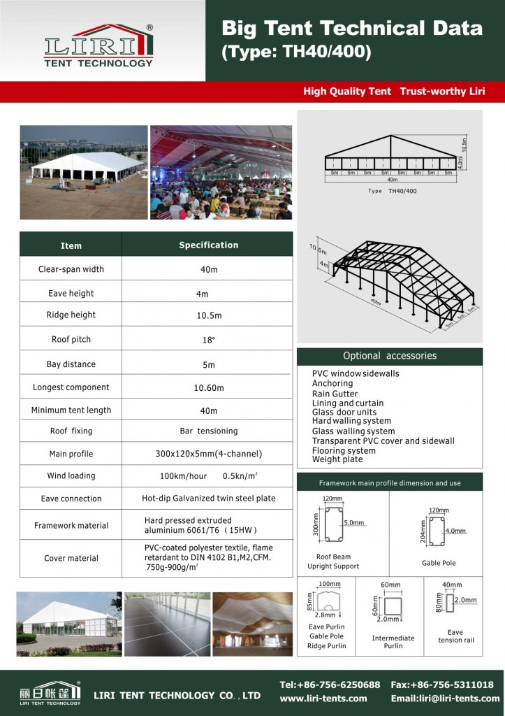 Specification for TH40m width tent(Peggy-Liri Tent)