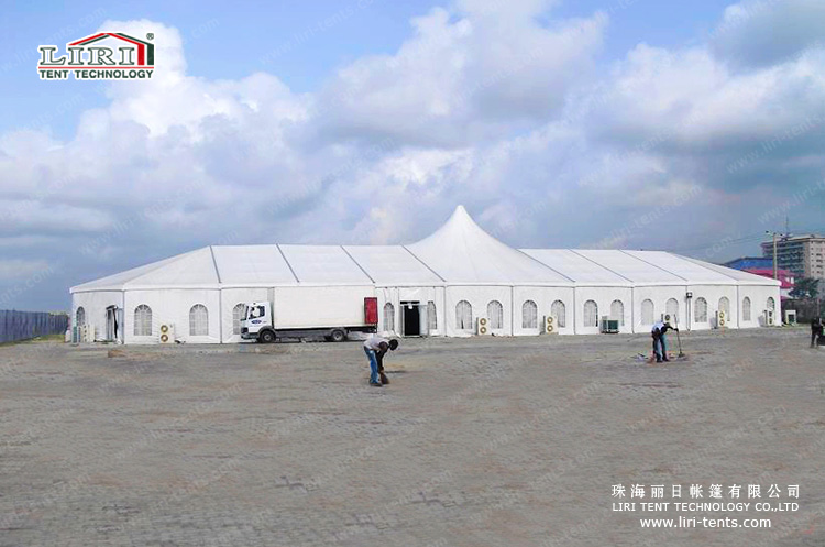 20x60m mixed high peak big tent with polygonal round end + high peak design in the & Bespoke Big Church Tent with high peak for sale