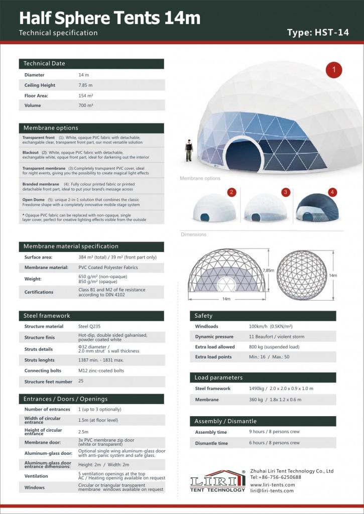 14米球形篷房技术参数(英文)